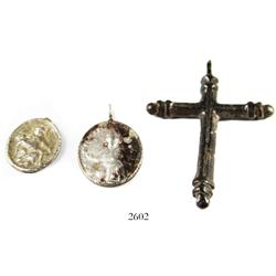 Lot of 3 small, silver, religious items: one cross and two medallions, Spanish colonial (1600s-1700s