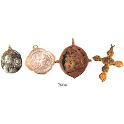 Lot of 4 small, copper/bronze, religious items: one cross and three medallions, Spanish colonial (16