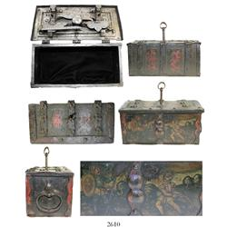 Small, iron Nuremburg chest, late 1500s or early 1600s but the exterior artistically painted in the