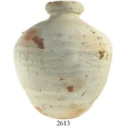 Spanish earthenware olive jar (small), 1600s, from Las Cruces Trail in Panama, with original cork in