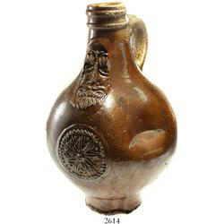 "Small stoneware ""Bellarmine"" jug, probably 1600s."