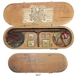 Original Spanish pan-scale weight from Valencia in wooden case dated 1761.