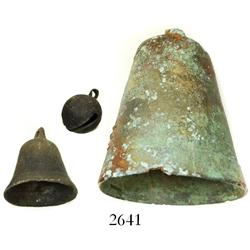 Lot of 3 different types of bronze bells, Spanish colonial (1600s-1700s).
