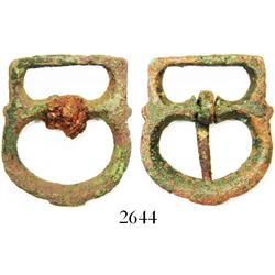 Pair of gilt-bronze shoe-buckles, early Spanish colonial (1500s).