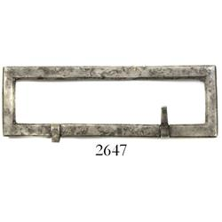 Large silver belt buckle, Spanish colonial (1600s-1700s).