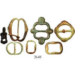 Lot of 7 various bronze buckles, Spanish colonial (1500s-1700s).