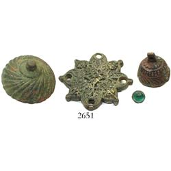Lot of 4 various bronze items of unknown purpose (button with glass bead, 2 bell-shaped knobs, and a