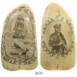 Ivory whale tooth with mid-1900s scrimshaw depicting a whaling scene on one side and a  captain hold