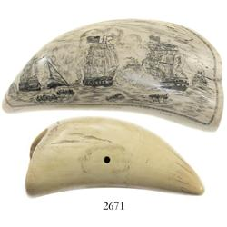 Ivory whale tooth scrimshaw by Don Waring of New Bedford, Mass. (signed), mid-1900s, depicting a bat