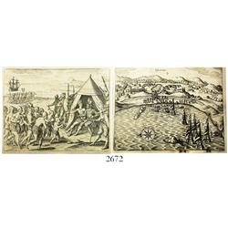Lot of 2 de Bry woodcut engravings from German publication of the 1650s (Gottfriedt), one showing a