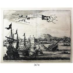 "Large, Dutch, woodcut engraving by Pierre Vander Aa (Leiden, 1729) entitled ""St. Francisco de Campec"