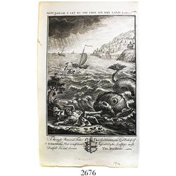 "English woodcut engraving (1764) by Thomas Stackhouse entitled ""Jonah Cast by the Fish on Dry Land"""