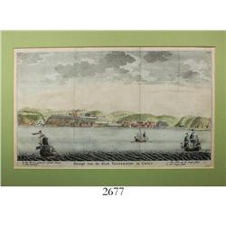 "Dutch woodcut engraving (1766) by Isaac Tirion entitled ""Gezigt van de Stad Valparayso in Chili"" sho"