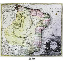 "Large German map of Brazil by Matthaus Seutter (ca. 1730) entitled ""Recens elaborata Mappa Geographi"