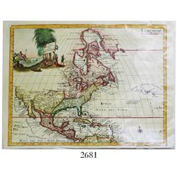 Italian map of North America by Guillame de L'Isle printed in Venice by Girolamo Albrizzi in 1740 en