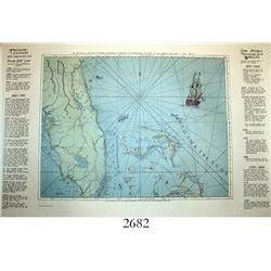 Modern (Memento Art) copy of the famous 1775 Romans map of Florida and the Bahamas.
