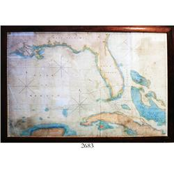 Large, framed chart of the Gulf of Mexico, Florida and the Bahamas, ca. 1825, rare.