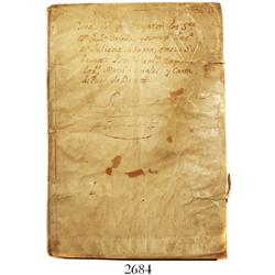 1710 skin-bound sheaf of Spanish official handwritten manuscripts on royal paper (some with seals at