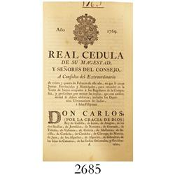 1769 paper-bound certified copy (printed) of a Real Cedula (royal decree) from Charles III of Spain.