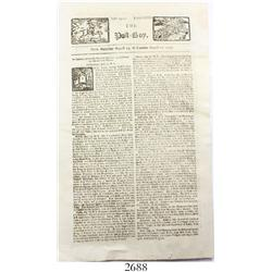 1723 The Post Boy newspaper (English) with article about pirates.