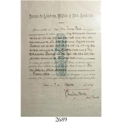 1884 bank deposit receipt from Lima, Peru (Banco de Londres, Mejico y Sud-America).