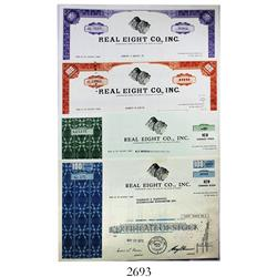 Lot of 4 different Real Eight Co. stock certificates (all different colors).