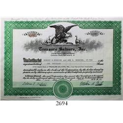 Original Treasure Salvors (Fisher) stock certificate from 1986 for 1000 shares, rare.