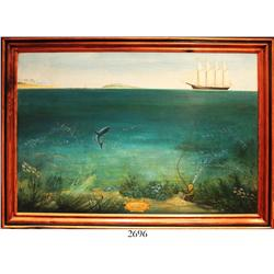 "Framed oil-on-board painting (ca. 1950s) entitled ""Treasure Diving / West Indies"" (artist unknown)."