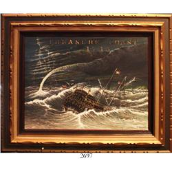 "Framed oil-on-board painting (ca. 1960s-70s) in wooden frame entitled ""Treasure Coast 1715"" by artis"