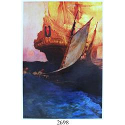 "Modern giclee print of Howard Pyle painting (1905) of pirates attacking a ship entitled ""An Attack o"
