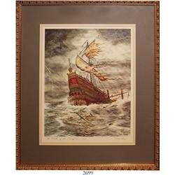 "Framed, signed, color lithograph entitled ""The Wreck of the Concepcion 1641"" by Duke Long (1980)."