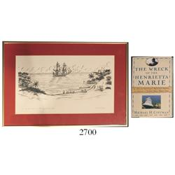 "Framed, signed print entitled ""The Henrietta Marie on the Ivory Coast 1699"" by Duke Long (1984), acc"