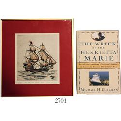 Framed, limited-edition #41/200 watercolor entitled  The Henrietta Marie 1699  by Duke Long (1984),