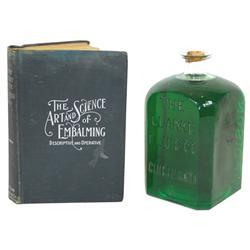 Poison embalming fluid bottle & book, glass bottle embossed  The Clarke Fluid Co.-Cincinnati-Poison