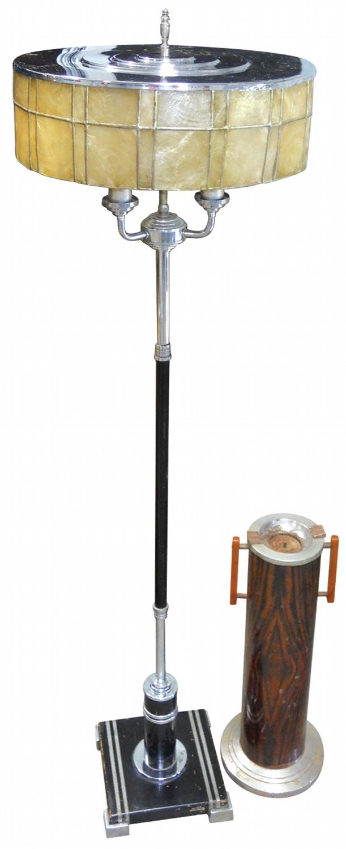 Art Deco Floor Lamp Chrome Wood With An Isinglass Shade Good Working Cond Deco Floor Ashtray W