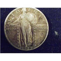 1929 Walking Liberty Silver Quarter, EF
