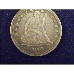 1865 Seated Liberty Silver Quarter   ch3