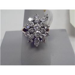 2 Ct Brilliant Diamond Cluster Ladies Ring, 14K Gold,  ch17