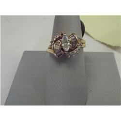 1.20 Carat Diamond Ring, 1/2 Carat Center Marquis, 14K