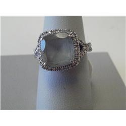 1 Carat Parve Diamond Ring W/Moonstone, 14K 4.3 Gr White Gold