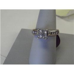 1 Carat Diamond Ladies Ring, Princess Cut Centers, 6 Grams 14K Gold