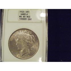 1923 Choice BU Silver Peace Dollar, Graded MS60
