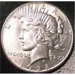 Key Date 1928 Silver Peace Dollar, EF min.