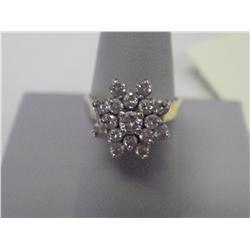 1.75 Carat Diamond Cluster Ladies Ring, 14 K