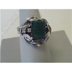 2 Carat Diamond & Emerald Ladies Ring, 7.1 Gr 14K Gold