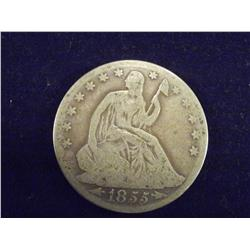 1855 Seated Liberty silver Quarter