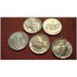 Five 1941 Mercury Silver Dimes, Brilliant, Uncirculated