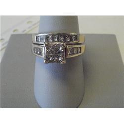 1 1/2 Carat 2 Band Princess Cut Diamond Ring, 8.5 Gr 14K White Gold