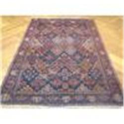 "4'2""x6'5"" Antique Persian Tribal Boluch Handmade Rug"