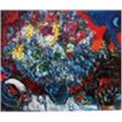 """Chagall """"Bouquet de Fleur Et Amant"""" Lithograph W/Coa"""